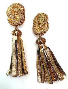 Gilded Tassels Double Infinity, Leather Tassel, Art Decor, Tassels, Jewelry Design, Drop Earrings, Drop Earring, Tassel, Fringes