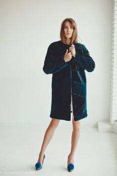 e9a465d45bc2c Dark blue real Fur coat Fur jacket for women Long coat Winter coat Trench  coat Afghan
