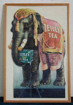 Elephant advertising | EARLY FRAMED TETLEY TEA AD WITH ELEPHANT