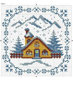 Would make a nice seasonal picture. Maybe add the same house with Fall, Summer & Spring? Cross Stitch House, Xmas Cross Stitch, Counted Cross Stitch Patterns, Cross Stitch Charts, Cross Stitch Designs, Cross Stitching, Cross Stitch Embroidery, Diy Broderie, Cross Stitch Landscape