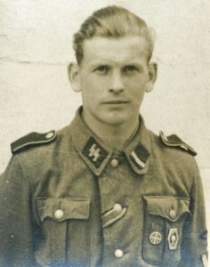 """Norwegian Waffen-SS volunteer with the Norwegian """"Front-fighters badge"""" (Frontkjempermerke) and the Iron cross. The Front fighters badge was introduced in 1943 and was awarded Norwegian volunteers that had served on the Eastern front."""