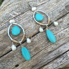 """**12 HOUR SALE**Turquoise & Pearl Earrings Fantastic Earrings lite weight and measure a little over 2 1/2""""♥️ Jewelry Earrings"""
