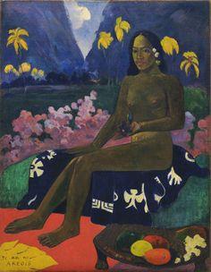 """1892, Paul Gauguin, Te aa no Areois, olio su tela, cm 92 x 72. New York, Museum of Modern Art.  Poco dopo il suo arrivo a Mataiea, Gauguin esplora la costa orientale di Tahiti, la zona piu' selvaggia. Qui conosce Teh'amana, un'adolescente di appena tredici anni. In alcuni dipinti, dove la nuova amante e' ritratta, Gauguin fa rivivere le antiche leggende, rispondendo al precetto di Charles Baudelaire di """"una traduzione leggendaria della vita esteriore."""