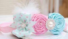 Shabby Chic diadema con Rosas Rosa y Aqua azules por cacababy