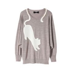 CAT MOTIF AND BIJOUX PULLOVER ($110) ❤ liked on Polyvore featuring tops, sweaters, shirts, jumpers, women, cat sweater, pullover sweater, sweater pullover, cat shirt and cat pullover