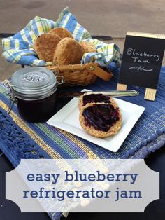 Blueberry Refigerator Jam Recipe - no canning required! Makes only a few jars, so no large batches needed - can use frozen blueberries