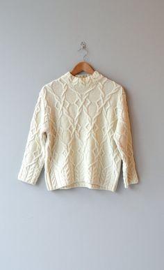 Ronin wool sweater cable knit sweater cream wool by DearGolden.
