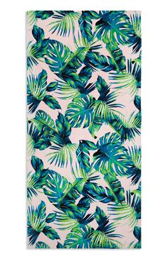 Primark - Pink Blue Green Palm Print Beach Towel