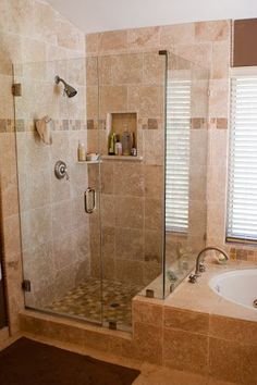 Out bathroom is close to this with a little additional tile on the side of the tub Perfect idea for when we replace the master bath shower door. & Charcoal Black Pebble Tile | Master bathrooms Small master bath ... Pezcame.Com