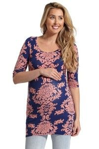 Maternity Coral Navy Damask Print 34 Sleeve