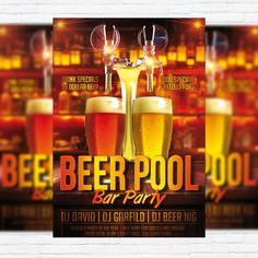 Beer Pool - Premium Flyer Template + Facebook Cover http://exclusiveflyer.net/product/beer-pool-premium-flyer-template-facebook-cover/