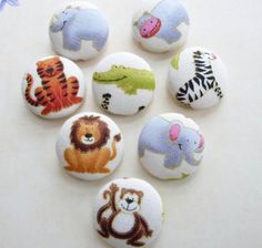 wild animals handmade fabric covered buttons 7/8 by denuartigekat, $8.80