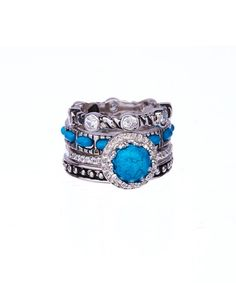 Another great find on #zulily! Turquoise & Silvertone Tupelo Stackable Ring Set #zulilyfinds