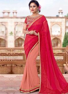 Magenta Peach Embroidery Work Georgette Designer Half Fancy Party Wear Sarees   #Wedding #Bridal #designer #Saree       http://www.angelnx.com/Sarees