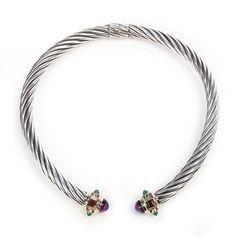 David Yurman Sterling Silver & 14K Gold Amethyst Renaissance Choker Necklace