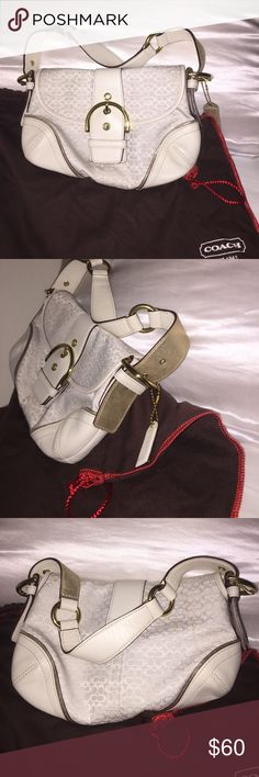 Authentic coach cream and gold Authentic Coach in color cream with gold accent leather. Only carried twice, been in the closet. Dustbag included Coach Bags Shoulder Bags