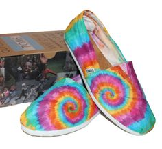 Tie Dye TOMS Shoes (just finished making this custom pair!)