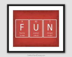 Periodic Element Word Poster Nerdy Wall Art by GetYourNerdOn