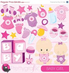 80% OFF SALE Baby girl clipart commercial use baby shower vector graphics pink digital clip art digital images - CL828