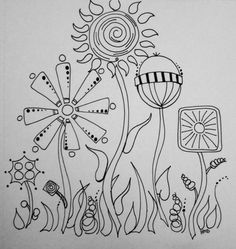 Drawing Doodles Sketches Candy Garden Doodle Sketch by Heidi Denney Bic sharpie art illustration - I doodled this in one of my mini sketchbooks. I feel like it's very CandyLand-ish. Doodle Designs, Doodle Patterns, Zentangle Patterns, Doodle Borders, Tangle Doodle, Doodles Zentangles, Zen Doodle, Doodle Sketch, Doodle Drawings