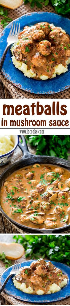 Meatballs with Mushroom Sauce - pork meatballs in a delicious creamy mushroom sauce served over mashed potatoes. Comforting and incredibly delicious!