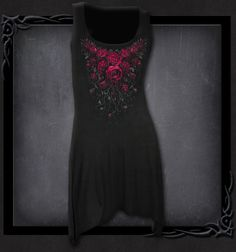 Womens BLOOD ROSE Goth Bottom Camisole Dress Black Shop Online From Spiral Direct, Gothic Clothing, UK