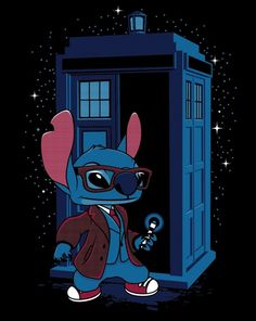 A Doctor Who t-shirt featuring Stitch from Lilo Stitch as Doctor Who. Art by DeardenDesign/Matt Dearden. Lilo Stitch, Disney Stich, Film Manga, Doctor Who T Shirts, Time T, Disney And Dreamworks, Disney Pixar, Tardis, Disney Art