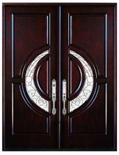 Double Front Entry Door Modern Mahogany Wood Door Pre-hung Doors With Framing Wooden Main Door Design, Double Door Design, Sliding Door Design, Room Door Design, Double Front Entry Doors, Wood Entry Doors, Front Doors, Hardware, Solid Wood