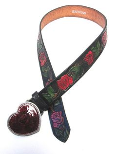 Black Belt Leather Size S Red Rose Tattoo by sweetie2sweetie
