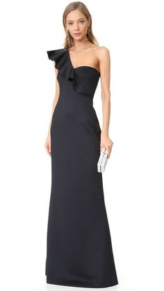 Black Halo Tailored-fit Carmel One-shoulder Gown In Black Rachel Zoe, Evening Outfits, Evening Dresses, Marchesa, Casual Dresses, Fashion Dresses, Formal Dresses, Diane Von Furstenberg, Neoprene Gown