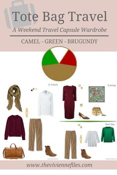 A weekend travel capsule wardrobe in a camel, green, and burgundy color palette
