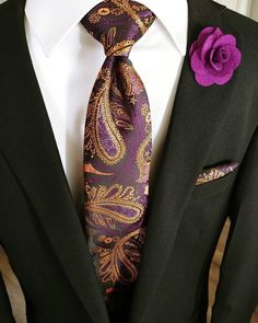 Men's Ties,Purple Yellow Paisley Tie Pocket Square Cufflinks Set When a fit plus fasten is Pocket Square Styles, Tie And Pocket Square, Pocket Squares, Purple And Gold Wedding, Paisley Tie, Cufflink Set, Suit Accessories, Cowgirl Outfits, Mens Fashion Suits