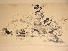"""Ink on paper publicity drawing for a 1930 Mickey Mouse cartoon, created just a year after the first appearance of Mickey in """"Steamboat Willie"""". Disney Pictures, Disney Pics, Ub Iwerks, Steamboat Willie, Mickey Mouse Cartoon, Disney Artists, Disney Sketches, Disney And More, Classic Cartoons"""