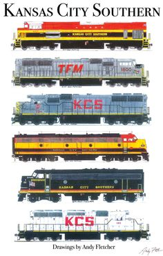 6 hand drawn Kansas City Southern drawings by Andy Fletcher