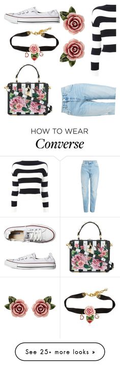 """roses"" by stylegirl12356 on Polyvore featuring Dolce&Gabbana, Boutique Moschino, Converse and statementbags"