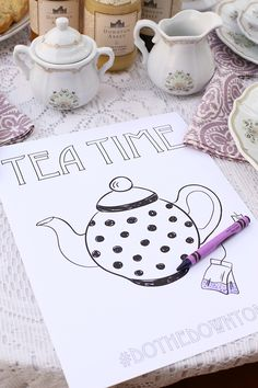 Kid Friendly Tea Party Coloring Sheet Printable #worldmarkettribe #ad