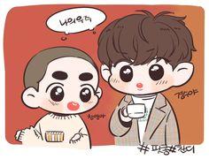 Exo Cartoon, Exo Kokobop, Exo Fan Art, Chansoo, Kpop Fanart, Kyungsoo, Cute Art, Boy Bands, Chibi