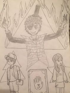 Bill Cipher, Mabel Pines, and Dipper Pines. #gravityfalls #dipper #mabel #billcipher