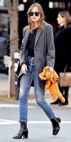Dakota Johnson's Awesome Ankle Boots Totally Make Her Outfit via @WhoWhatWearUK