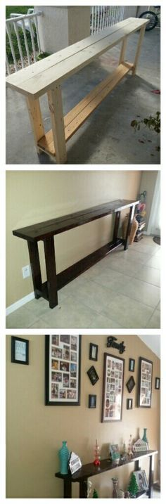 I wanted a wood entry table without breaking the bank! I was searching for one that was long enough for my entry way and have the rustic wood look but was unable to find. Headed over to the local home improvement store and got 4-2x2 2-2x4 and 2-wider wood panels for the top. Several wood screws and ready for sanding. Purchased two in one poly and stain paint, did three coats and all done! I get so many compliments on my new table!