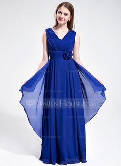 Bridesmaid Dresses - $116.99 - A-Line/Princess V-neck Floor-Length Chiffon Bridesmaid Dress With Ruffle Flower(s) (007025360) http://jenjenhouse.com/A-Line-Princess-V-Neck-Floor-Length-Chiffon-Bridesmaid-Dress-With-Ruffle-Flower-S-007025360-g25360?ver=1