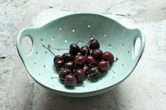 Big berry bowl! To hold tons and tons of delicious berries!  I threw this bowl on the wheel out of white stoneware. I threw it tall and carved