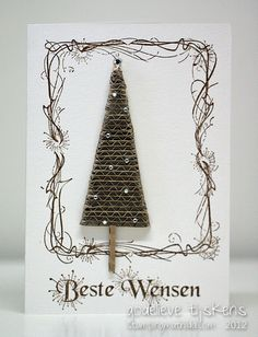 Corrugated cardboard tree. A card by Godelieve Tijskens.