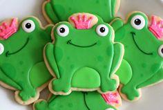 Hand Decorated Sugar Cookies Pink Frog Prince by BeesKneesCreative