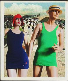 Another Man's Treasure: Indecent exposure...vintage bathing suits from the 1920's!  +++  Her: 1920's navy blue wool bathing suit by 'Jantzen' with embroidered logo    Him: 1920's green wool bathing suit with over-skirt by 'Ide Knit Co.'