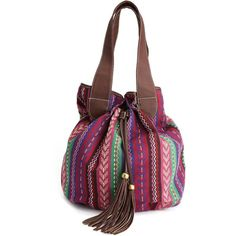Tribal Fringe-Trim Satchel (42 BRL) ❤ liked on Polyvore featuring bags, handbags, accessories, bolsos, purses, long hand bags, tassel purse, handbags purses, satchel handbags and fringe handbags