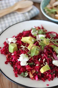 bulgar wheat salad with beetroot, avo and goats cheese