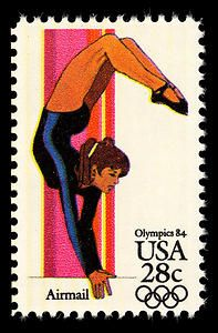 This women's gymnastics stamp is part of a series celebrating different sports and games played at the 1984 Summer Olympics.
