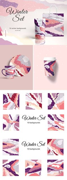Winter Set - Graphic Shirts - Ideas of Graphic Shirts - This is a collection of 10 artboards in purple pastel colors! With these backgrounds you can create beautiful products perfect for stationery t-shirts cards fashion apparel web projects and so Web Design, Fashion Logo Design, Layout Design, Design Set, Banner Design, Creative Design, Graphic Design Projects, Graphic Design Inspiration, Design Ideas