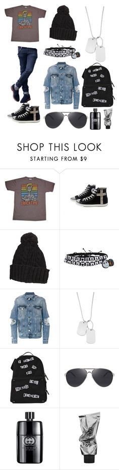 """honey, if you stay you'll be forgiven"" by llamapoop ❤ liked on Polyvore featuring Junk Food Clothing, Converse, Hot Topic, Balmain, Variations, Valentino, Gucci, men's fashion and menswear"
